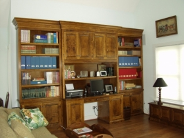 stained maple home office cabinetry